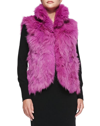 Adrienne Landau Fox Fur Vest, Orchid