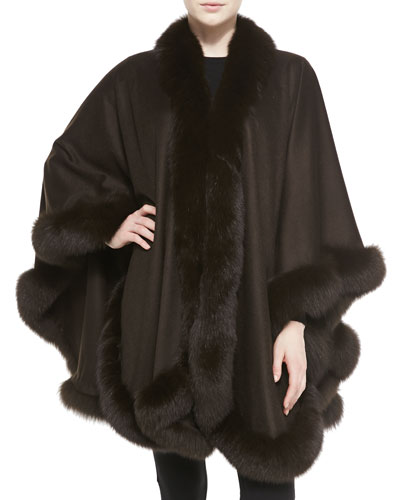 Sofia Cashmere Fox Fur-Trimmed Cashmere U-Cape, Brown