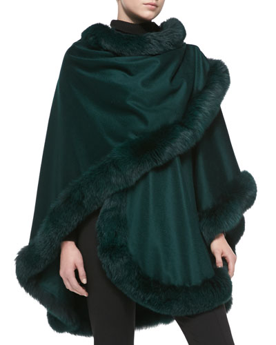 Sofia Cashmere Fox Fur-Trimmed Cashmere U-Cape, Holly