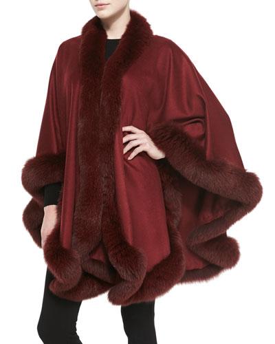 Sofia Cashmere Fox Fur-Trimmed Cashmere U-Cape, Burgundy