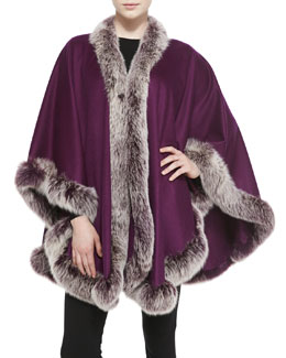 Sofia Cashmere Frosted Fox Fur-Trimmed Cashmere U-Cape, Beetroot