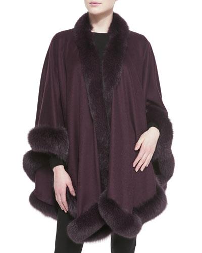 Sofia Cashmere Fox Fur-Trimmed Cashmere U-Cape, Plum