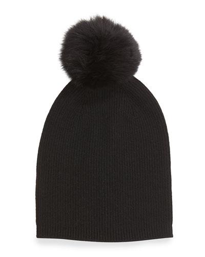 Sofia Cashmere Cashmere Fur-Pom Hat, Black