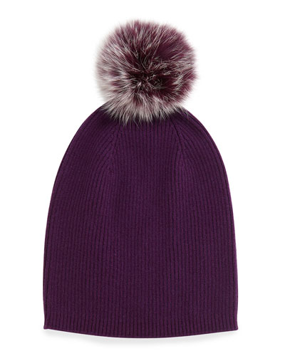 Sofia Cashmere Cashmere Fur-Pom Hat, Eggplant