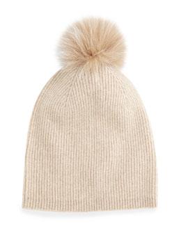 Cashmere Fur-Pom Hat, Oatmeal