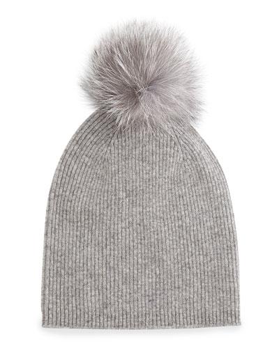 Sofia Cashmere Cashmere Fur-Pom Hat, Gray