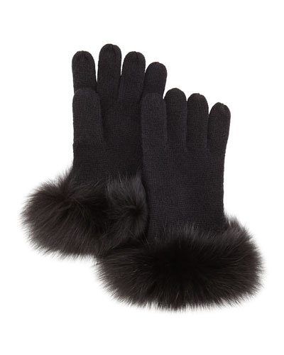 Sofia Cashmere Knit Fox-Fur-Cuff Gloves, Black