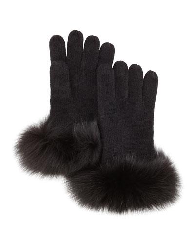 Sofia Cashmere Knit Fox-Fur-Cuff Gloves, Black