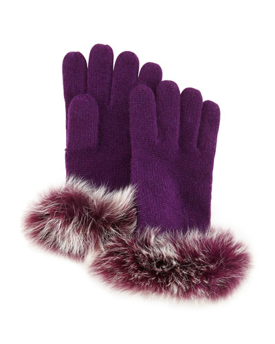 Sofia Cashmere Knit Fox-Fur-Cuff Gloves, Eggplant