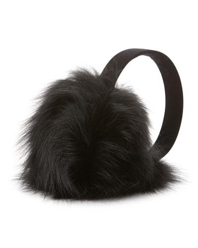 Sofia Cashmere Fox Fur Earmuffs, Black