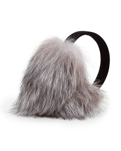 Sofia Cashmere Fox Fur Earmuffs, Natural