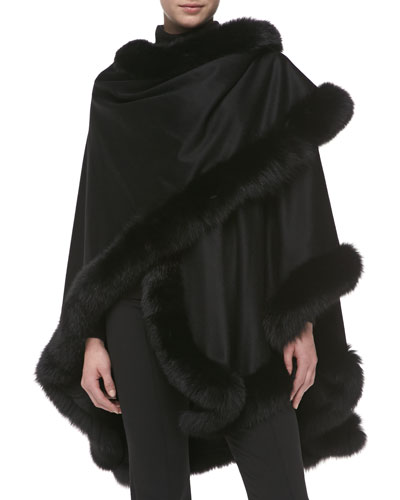 Sofia Cashmere Fox Fur-Trimmed Cashmere U-Cape, Black