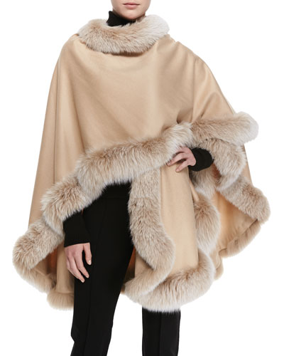 Sofia Cashmere Frosted Fox Fur-Trimmed Cashmere U-Cape, Blonde