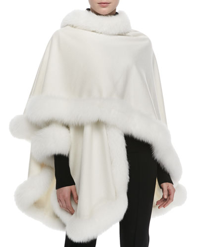 Sofia Cashmere Fox Fur-Trimmed Cashmere U-Cape, White