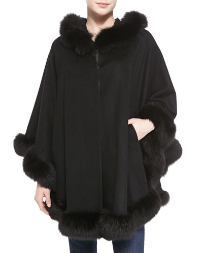Sofia Cashmere Hooded Cashmere Cape with Fox Fur Trim