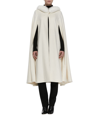 Sofia Cashmere Long Cape with Fox Fur Trim