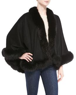 Sofia Cashmere Fox Fur-Trimmed Cashmere Petite U-Cape, Black