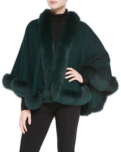 Sofia Cashmere Fox Fur-Trimmed Cashmere Petite U-Cape, Holly