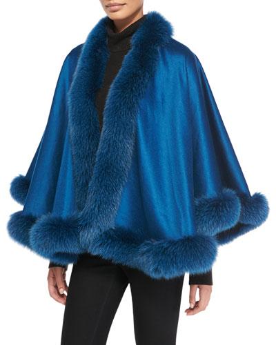 Sofia Cashmere Fox Fur-Trimmed Cashmere Petite U-Cape, Petrol