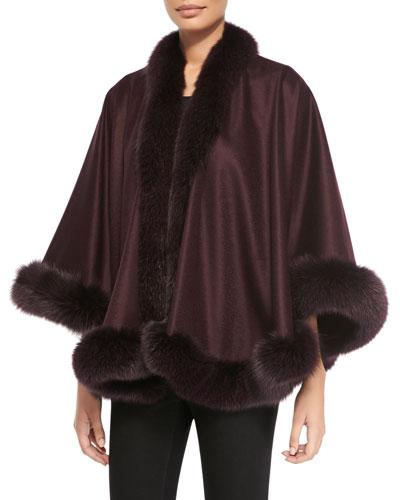 Sofia Cashmere Fox Fur-Trimmed Cashmere Petite U-Cape, Plum
