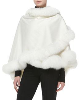 Sofia Cashmere Fox Fur-Trimmed Cashmere Petite U-Cape, White