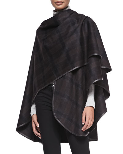 Sofia Cashmere Cashmere Plaid Leather-Trim Cape