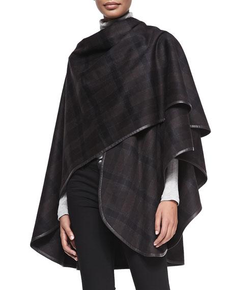 Cashmere Plaid Leather-Trim Cape