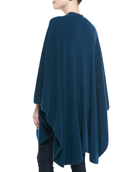 Cashmere Rib Knit-Trim U-Cape, Fare Isle Blue