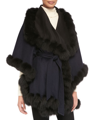 Sofia Cashmere Fox Fur-Trimmed Reversible Belted Cape, Blue/Black