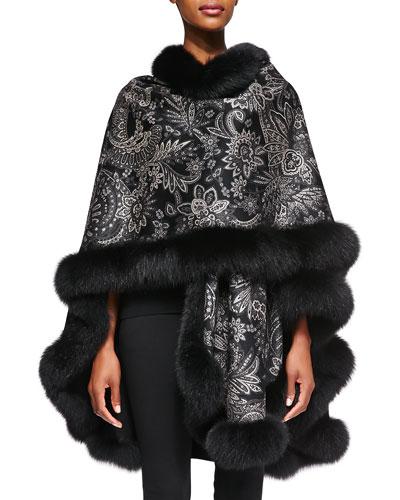 Sofia Cashmere Cashmere Paisley Fur-Trim Cape
