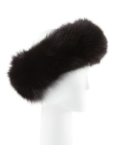 Sofia Cashmere Fox Fur Headband, Black