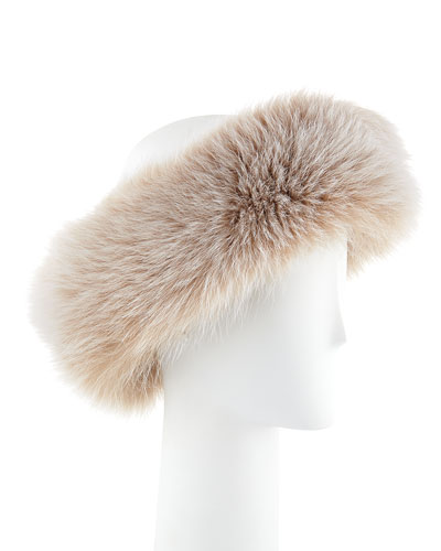 Sofia Cashmere Fox Fur Headband, Blonde
