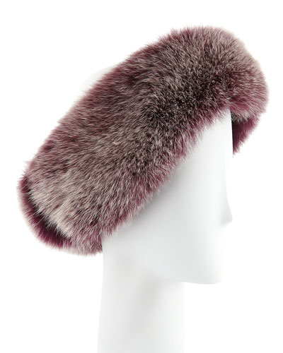 Sofia Cashmere Fox Fur Headband, Beet Root