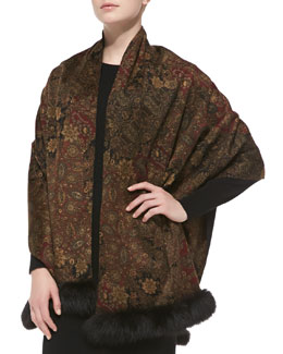 Sofia Cashmere Paisley Cashmere Shawl with Fox Fur Trim