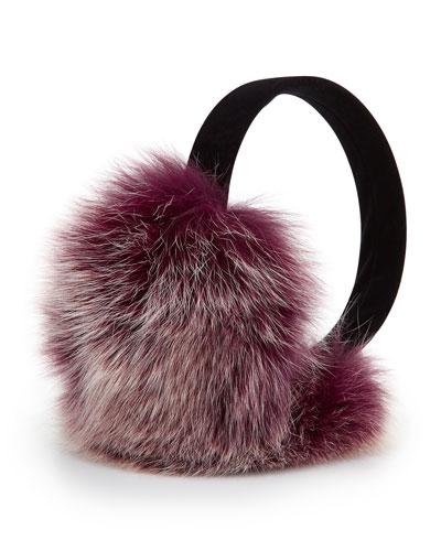 Sofia Cashmere Fox Fur Earmuffs, Beet Root