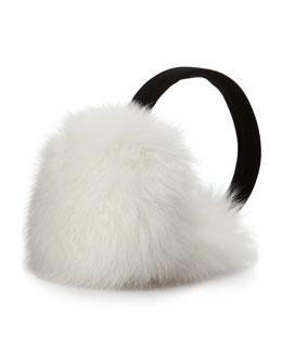 Fox Fur Earmuffs, White