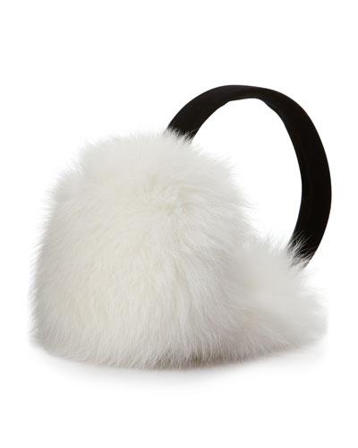 Sofia Cashmere Fox Fur Earmuffs, White