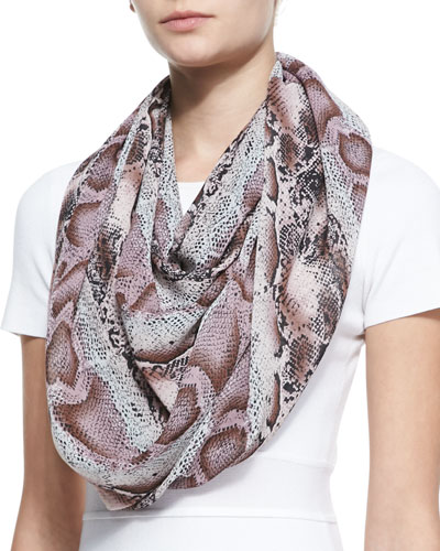 Karen Zambos Python-Print Infinity Scarf, Lavender