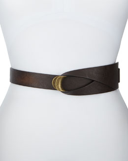 BCBGMAXAZRIA Loop-And-Hook Faux-Leather Belt, Chocolate