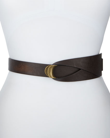 Loop-And-Hook Faux-Leather Belt, Chocolate