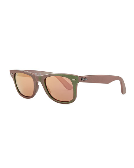 Ray Ban Wayfarer Sunglasses With Mirrored Lenses Iridescent Green