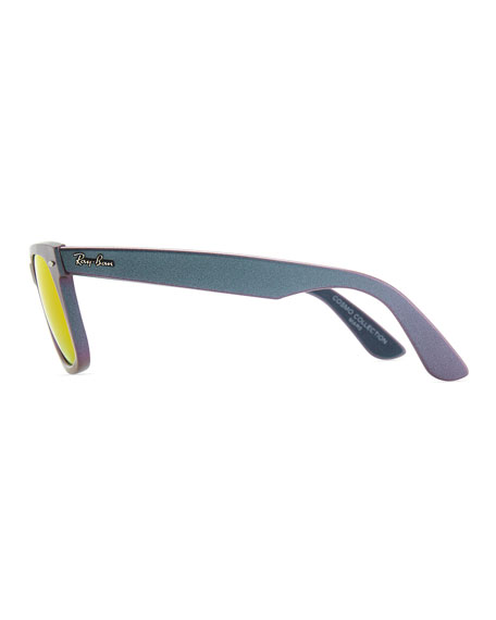 Wayfarer Sunglasses with Mirrored Lenses, Iridescent Lavender