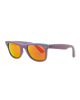 Ray-Ban Wayfarer Sunglasses with Mirrored Lenses, Iridescent Lavender