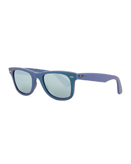 Ray-Ban Wayfarer Sunglasses with Mirrored Lenses, Iridescent Blue