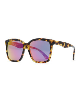 Illesteva Felix Sunglasses with Mirrored Lens, Tortoise