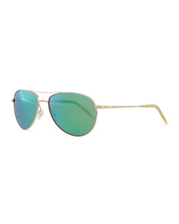 Oliver Peoples Mirrored Aviator Sunglasses, Gold/Blush