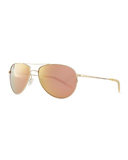 Oliver Peoples Benedict 59 Mirrored Aviator Sunglasses, Gold/Green