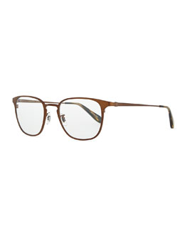 Oliver Peoples Pressman Round Fashion Glasses, Bronze