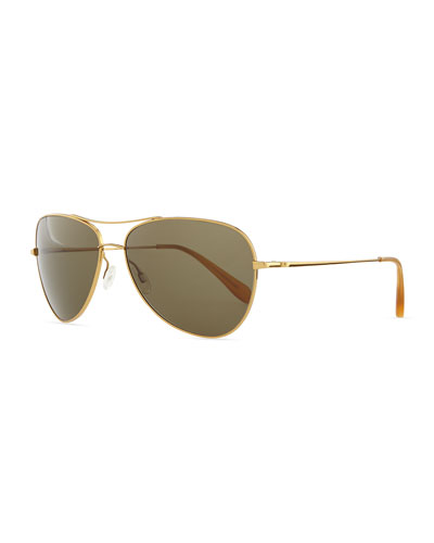 Oliver Peoples Pryce Metal Aviator Sunglasses, Gold