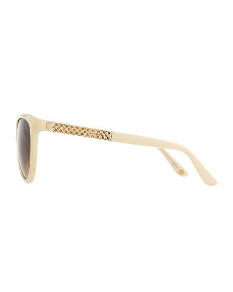 Modified Cat-Eye Sunglasses, Ivory